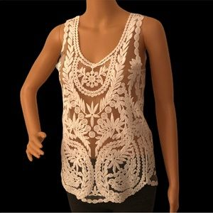Anthropologie sexy boho lace knit/ embroidery tank